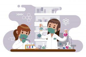detección de coronavirus en superficie. Chicas analizando muestras | Exprodim
