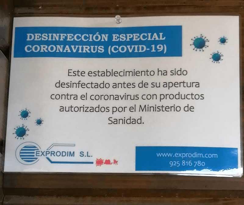 Cartel certificado desinfección en casas rurales de Madrid | Exprodim